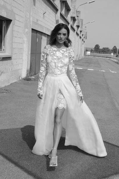 Wedding Dress and Overskirt Rime Arodaky Joan and Lenny
