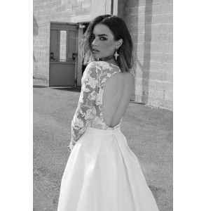 Wedding Dress and Overskirt Rime Arodaky Joan and Lenny back