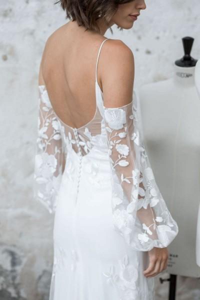 Wedding dress Rime Arodaky Wolf back close up
