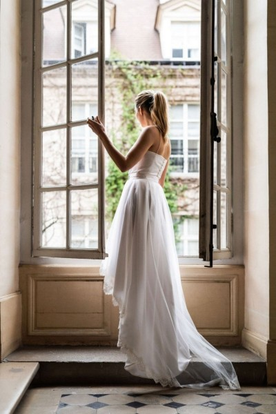 Wedding skirt Harpe Duchesse back