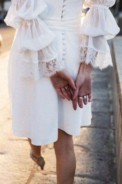 Short wedding dress Harpe Nina back