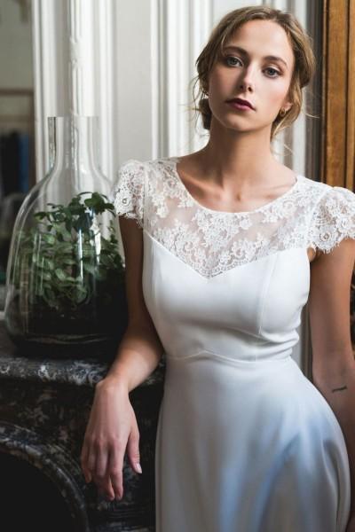 Short wedding dress Harpe Trianon front