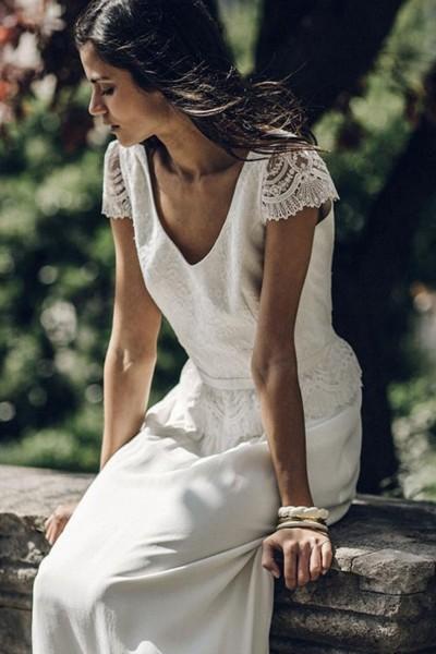 Wedding dress Laure de Sagazan Vian front close up