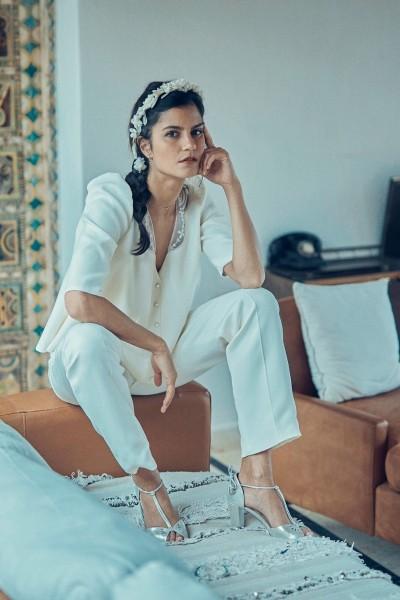 Wedding trousers Laure de Sagazan Blier front